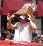 Henrik Zetterberg wears the Conn Smythe Trophy as a hat during the 2008 Stanley Cup parade.