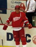 Marian Hossa stands at the Detroit bench during pre-game warmups.