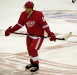 Brad Stuart skates at center ice during pre-game warmups.