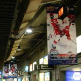 Banners of players from the Red Wings and Blackhawks hang in the Wrigley Field concourse during the Winter Classic.
