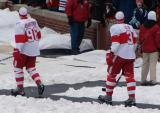 Tomas Holmstrom and Andreas Lilja head to the ice for pre-game warmups before the Winter Classic.