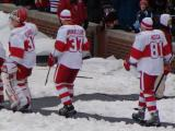 Chris Osgood, Mikael Samuelsson and Marian Hossa head to the rink for pre-game warmups before the Winter Classic.
