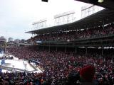 The Wrigley Field first-baseline stands during pre-game warmups prior to the Winter Classic.