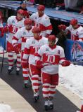 Henrik Zetterberg leads Johan Franzen, Niklas Kronwall, Pavel Datsyuk, Chris Chelios and Nicklas Lidstrom onto Wrigley Field prior to the start of the Winter Classic.