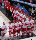 The Detroit Red Wings wait to walk to the rink at Wrigley Field prior to the Winter Classic.