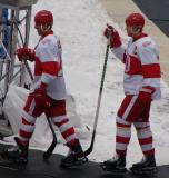 Chris Chelios and Nicklas Lidstrom walk to the rink at Wrigley Field prior to the Winter Classic.