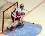 Jimmy Howard makes a stop during pre-game warmups before a Grand Rapids Griffins game.