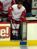 Dan Cleary steps onto the ice for pre-game warmups.