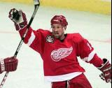 Doug Brown celebrates a Red Wings goal.