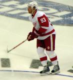 Johan Franzen skates through the neutral zone during pre-game warmups.