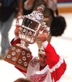 Steve Yzerman hoists the Campbell Bowl after the Red Wings win the Western Conference Finals.