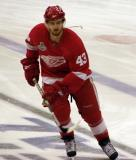 Darren Helm skates inside the blue line during pre-game warmups.