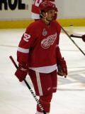 Jonathan Ericsson skates through the neutral zone during pre-game warmups.