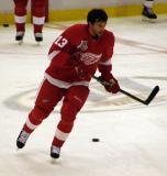 Pavel Datsyuk skates through the neutral zone during pre-game warmups.