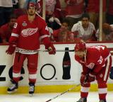 Darren Helm and Mikael Samuelsson stand at the boards during pre-game warmups.