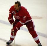 Nicklas Lidstrom carries the puck across the blue line during pre-game warmups.