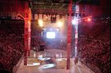Fire shoots from the scoreboard and banners drop from the rafters during the pregame show at Joe Louis Arena before Game Five of the 2009 Stanley Cup Finals.