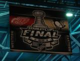 A banner commemorating the 2009 Stanley Cup Final hanging in the Joe Louis Arena rafters.
