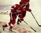 Niklas Kronwall skates through the neutral zone during pre-game warmups.