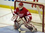 Chris Osgood readies himself to face a shot during pre-game warmups.
