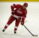 Justin Abdelkader looks for a pass during pre-game warmups.