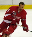 Nicklas Lidstrom skates at the blue line during pre-game warmups.