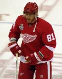 Marian Hossa skates at center ice during pre-game warmups.