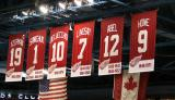 The banners for the Red Wings' retired numbers hanging at Joe Louis Arena.