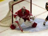 Jimmy Howard stands ready for a shot in a preseason game against the Buffalo Sabres.