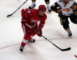 Justin Abdelkader chases the puck into the right faceoff circle during a preseason game against the Buffalo Sabres.