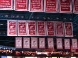 The Joe Louis Arena rafters and the banners honoring some of the Red Wings' accomplishments from 2007 to 2009.
