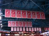 The Joe Louis Arena rafters and the banners honoring some of the Red Wings' accomplishments from 2003 to 2007.