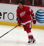 Brad May skates during pre-game warmups.