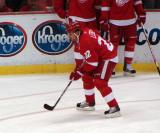Brett Lebda waits for the puck during pre-game warmups.