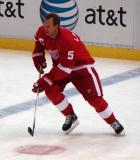 Nicklas Lidstrom skates in the neutral zone during pre-game warmups.