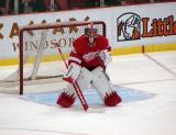 Jimmy Howard squares himself to a shooter during pre-game warmups.