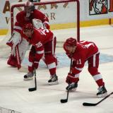 Jimmy Howard, Niklas Kronwall and Dan Cleary get set for a faceoff in the Detroit zone.