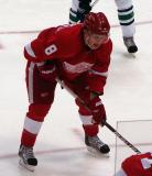 Justin Abdelkader lines up at left wing for a faceoff.