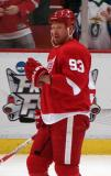 Johan Franzen looks across the ice during pre-game warmups.