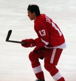 Pavel Datsyuk skates through the high slot during pre-game warmups.
