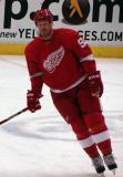 Johan Franzen skates in the neutral zone during pre-game warmups.