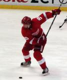 Niklas Kronwall winds up for a shot during pre-game warmups.