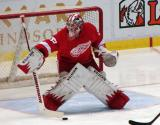 Jimmy Howard knocks aside a shot during pre-game warmups.