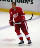 Nicklas Lidstrom skates through the neutral zone during pre-game warmups.