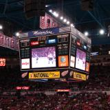 The Joe Louis Arena scoreboard at the start of the second period of the November 13, 2010, game between the Red Wings and the Avalanche.