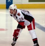 Derek Meech prepares for a faceoff in a Grand Rapids Griffins game against the Texas Stars.