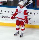 Johan Franzen stands along the boards during pre-game warmups.