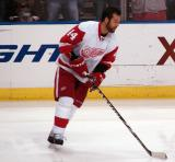 Todd Bertuzzi handles the puck during pre-game warmups.