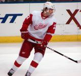 Brad Stuart skates during pre-game warmups.