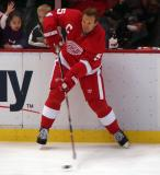 Nicklas Lidstrom fires a shot from along the boards during pre-game warmups.